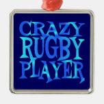 Jugador loco del rugbi ornamento para reyes magos