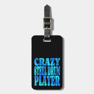 Jugador loco del tambor de acero etiquetas maletas