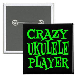 Jugador loco del Ukulele en verde Pin Cuadrada 5 Cm