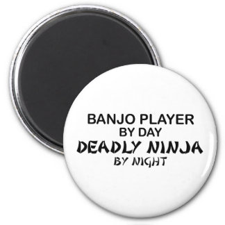 Jugador Ninja mortal del banjo por noche Imán Redondo 5 Cm