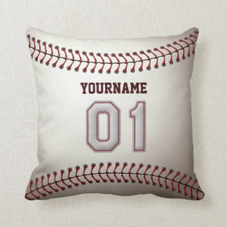 Jugador número 01 - puntadas frescas del béisbol cojín decorativo