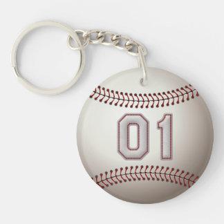 Jugador número 01 - puntadas frescas del béisbol llavero redondo acrílico a doble cara