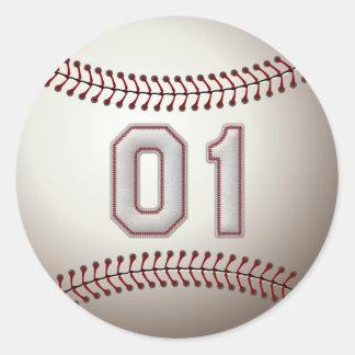 Jugador número 01 - puntadas frescas del béisbol pegatina redonda