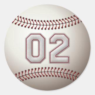 Jugador número 02 - puntadas frescas del béisbol pegatina redonda