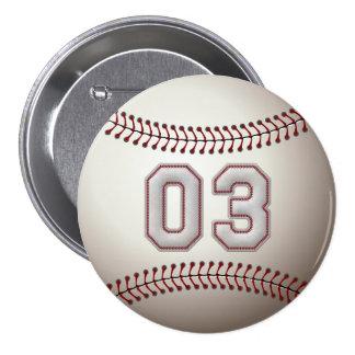 Jugador número 03 - el béisbol fresco cose los per pins