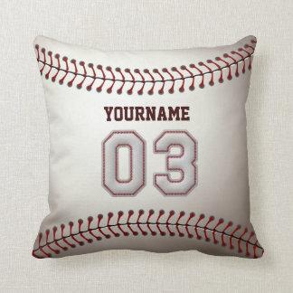 Jugador número 03 - puntadas frescas del béisbol cojín decorativo