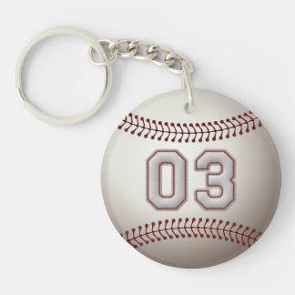 Jugador número 03 - puntadas frescas del béisbol llavero redondo acrílico a doble cara