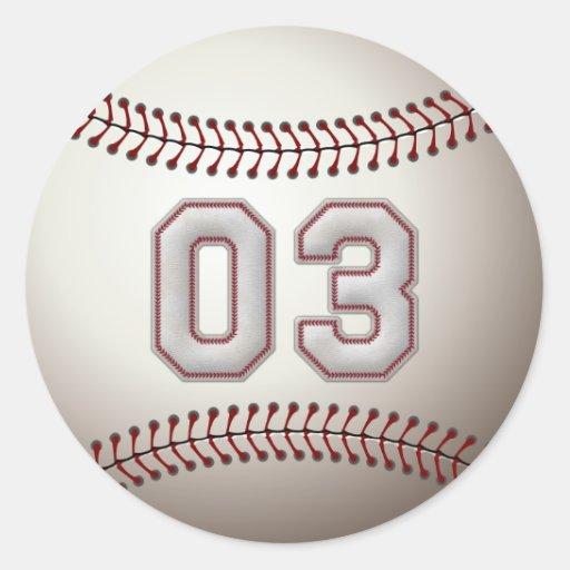 Jugador número 03 - puntadas frescas del béisbol pegatina redonda