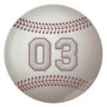 Jugador número 03 - puntadas frescas del béisbol plato