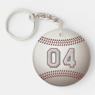 Jugador número 04 - puntadas frescas del béisbol llavero redondo acrílico a doble cara