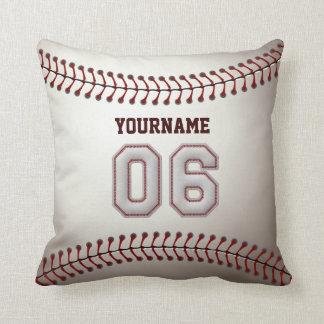 Jugador número 06 - puntadas frescas del béisbol cojín decorativo