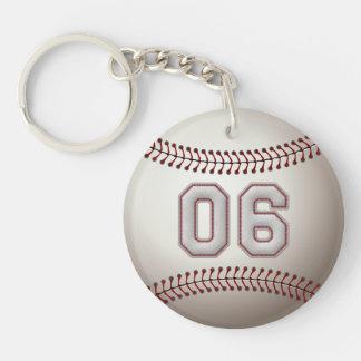 Jugador número 06 - puntadas frescas del béisbol llavero redondo acrílico a doble cara