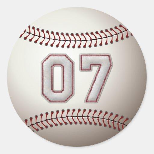 Jugador número 07 - puntadas frescas del béisbol etiquetas redondas