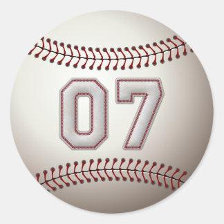 Jugador número 07 - puntadas frescas del béisbol pegatina redonda