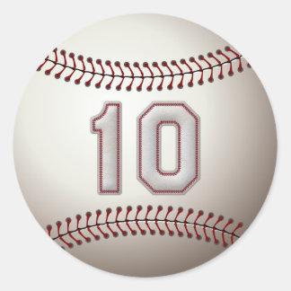 Jugador número 10 - puntadas frescas del béisbol etiqueta redonda