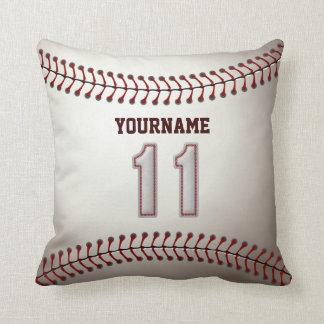 Jugador número 11 - puntadas frescas del béisbol cojín decorativo