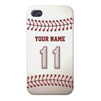 Jugador número 11 - puntadas frescas del béisbol iPhone 4 carcasa