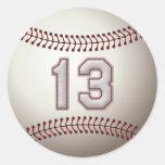 Jugador número 13 - puntadas frescas del béisbol pegatina redonda