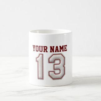 Jugador número 13 - puntadas frescas del béisbol taza básica blanca