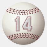 Jugador número 14 - puntadas frescas del béisbol pegatina