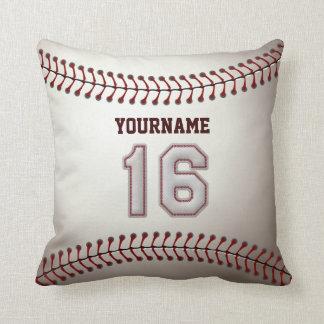 Jugador número 16 - puntadas frescas del béisbol cojin