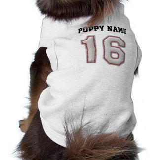 Jugador número 16 - puntadas frescas del béisbol playera sin mangas para perro