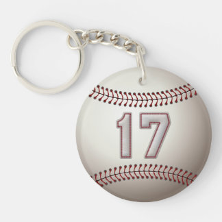 Jugador número 17 - puntadas frescas del béisbol llavero redondo acrílico a doble cara