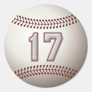 Jugador número 17 - puntadas frescas del béisbol pegatina redonda