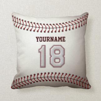 Jugador número 18 - puntadas frescas del béisbol cojin