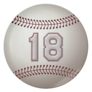 Jugador número 18 - puntadas frescas del béisbol plato de comida