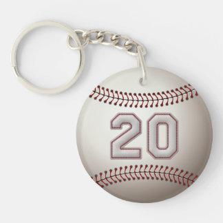 Jugador número 20 - puntadas frescas del béisbol llavero redondo acrílico a doble cara