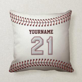 Jugador número 21 - puntadas frescas del béisbol cojin
