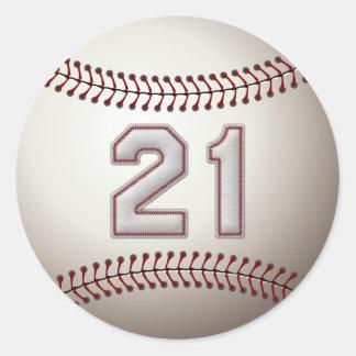 Jugador número 21 - puntadas frescas del béisbol pegatina redonda