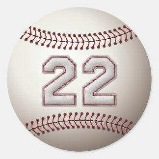 Jugador número 22 - puntadas frescas del béisbol pegatina redonda