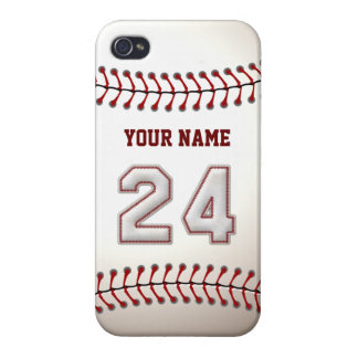 Jugador número 24 - puntadas frescas del béisbol iPhone 4 cárcasas