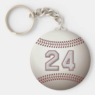 Jugador número 24 - puntadas frescas del béisbol llavero redondo tipo pin