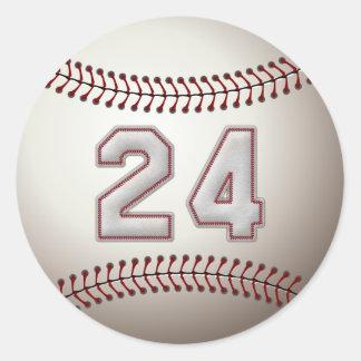 Jugador número 24 - puntadas frescas del béisbol pegatina redonda