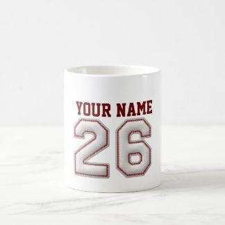 Jugador número 26 - puntadas frescas del béisbol taza básica blanca