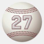 Jugador número 27 - puntadas frescas del béisbol pegatina redonda