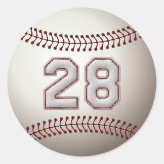 Jugador número 28 - puntadas frescas del béisbol pegatina redonda
