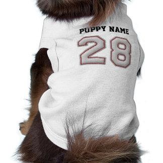 Jugador número 28 - puntadas frescas del béisbol playera sin mangas para perro