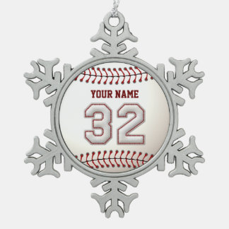 Jugador número 32 - puntadas frescas del béisbol adorno de peltre en forma de copo de nieve