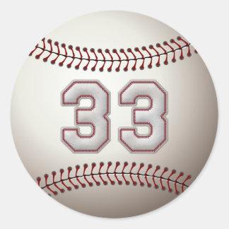 Jugador número 33 - puntadas frescas del béisbol pegatina redonda