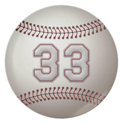 Jugador número 33 - puntadas frescas del béisbol plato de comida