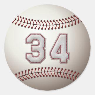 Jugador número 34 - puntadas frescas del béisbol pegatina redonda