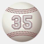 Jugador número 35 - puntadas frescas del béisbol etiqueta redonda