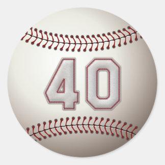 Jugador número 40 - puntadas frescas del béisbol pegatina redonda