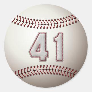 Jugador número 41 - puntadas frescas del béisbol pegatina redonda
