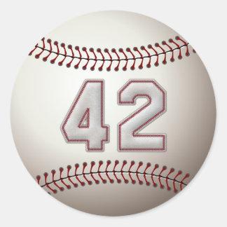 Jugador número 42 - puntadas frescas del béisbol pegatina redonda