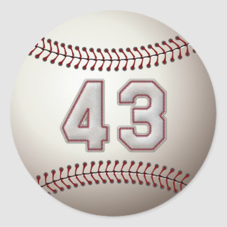 Jugador número 43 - puntadas frescas del béisbol pegatina redonda
